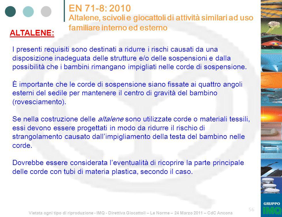 Vietata ogni tipo di riproduzione - IMQ - Direttiva Giocattoli – Le Norme – 24 Marzo 2011 – CdC Ancona GRUPPO 56 EN 71-8: 2010 Altalene, scivoli e gio