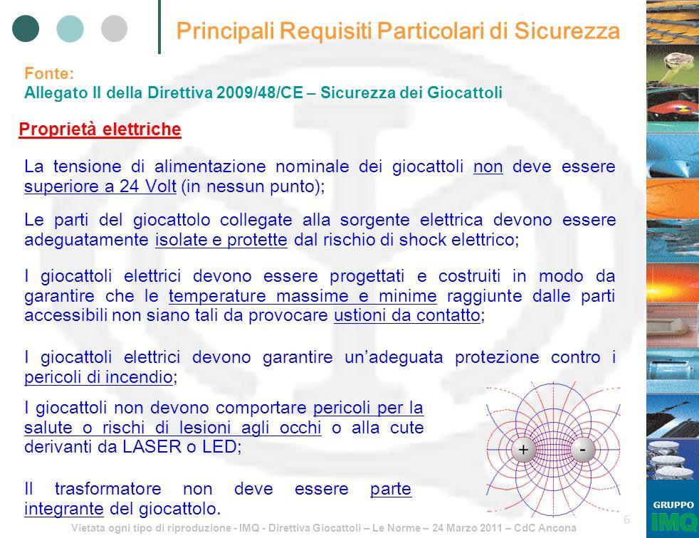 Vietata ogni tipo di riproduzione - IMQ - Direttiva Giocattoli – Le Norme – 24 Marzo 2011 – CdC Ancona GRUPPO 6 Principali Requisiti Particolari di Si