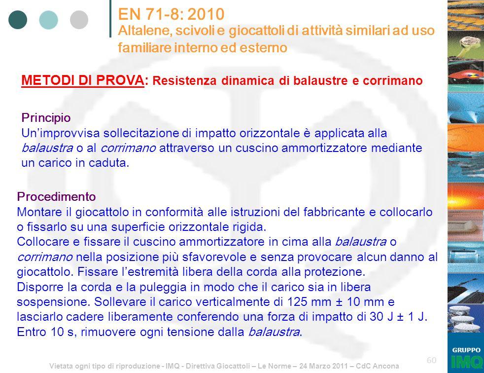 Vietata ogni tipo di riproduzione - IMQ - Direttiva Giocattoli – Le Norme – 24 Marzo 2011 – CdC Ancona GRUPPO 60 EN 71-8: 2010 Altalene, scivoli e gio