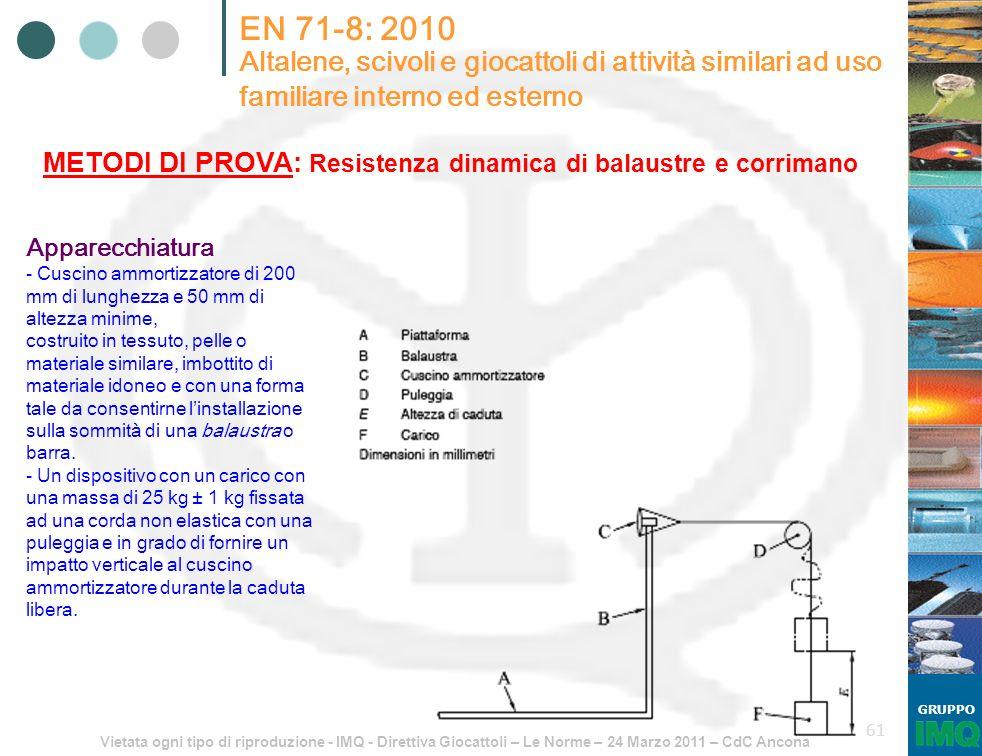 Vietata ogni tipo di riproduzione - IMQ - Direttiva Giocattoli – Le Norme – 24 Marzo 2011 – CdC Ancona GRUPPO 61 EN 71-8: 2010 Altalene, scivoli e gio