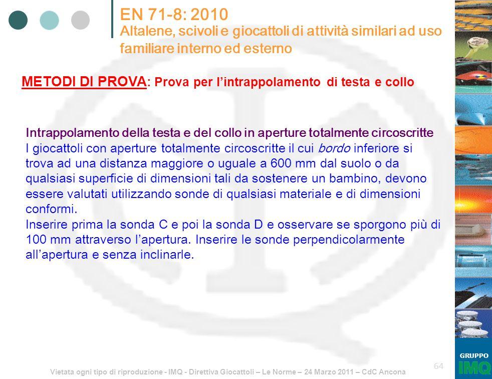 Vietata ogni tipo di riproduzione - IMQ - Direttiva Giocattoli – Le Norme – 24 Marzo 2011 – CdC Ancona GRUPPO 64 EN 71-8: 2010 Altalene, scivoli e gio