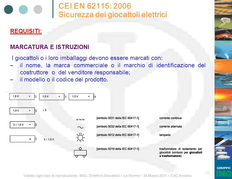 Vietata ogni tipo di riproduzione - IMQ - Direttiva Giocattoli – Le Norme – 24 Marzo 2011 – CdC Ancona GRUPPO 74 CEI EN 62115: 2006 Sicurezza dei gioc