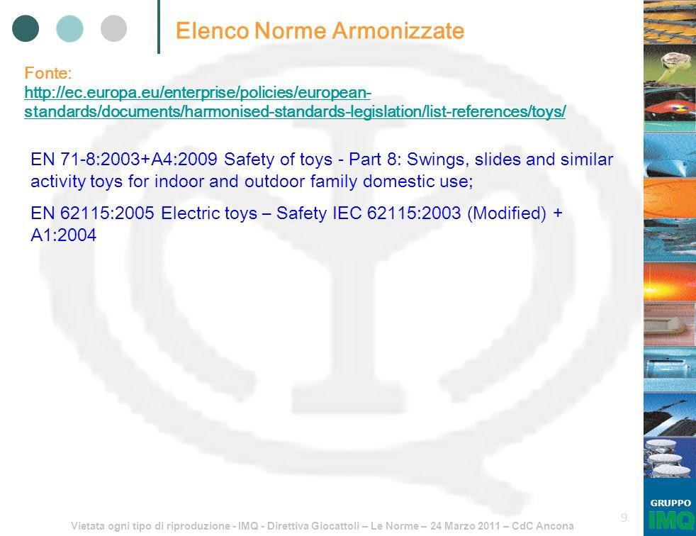 Vietata ogni tipo di riproduzione - IMQ - Direttiva Giocattoli – Le Norme – 24 Marzo 2011 – CdC Ancona GRUPPO 9 Elenco Norme Armonizzate Fonte: http:/
