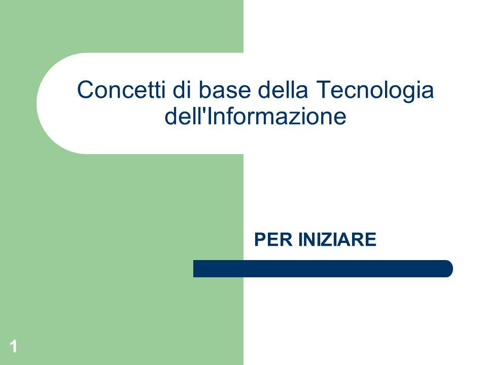 1 Concetti di base della Tecnologia dell Informazione PER INIZIARE