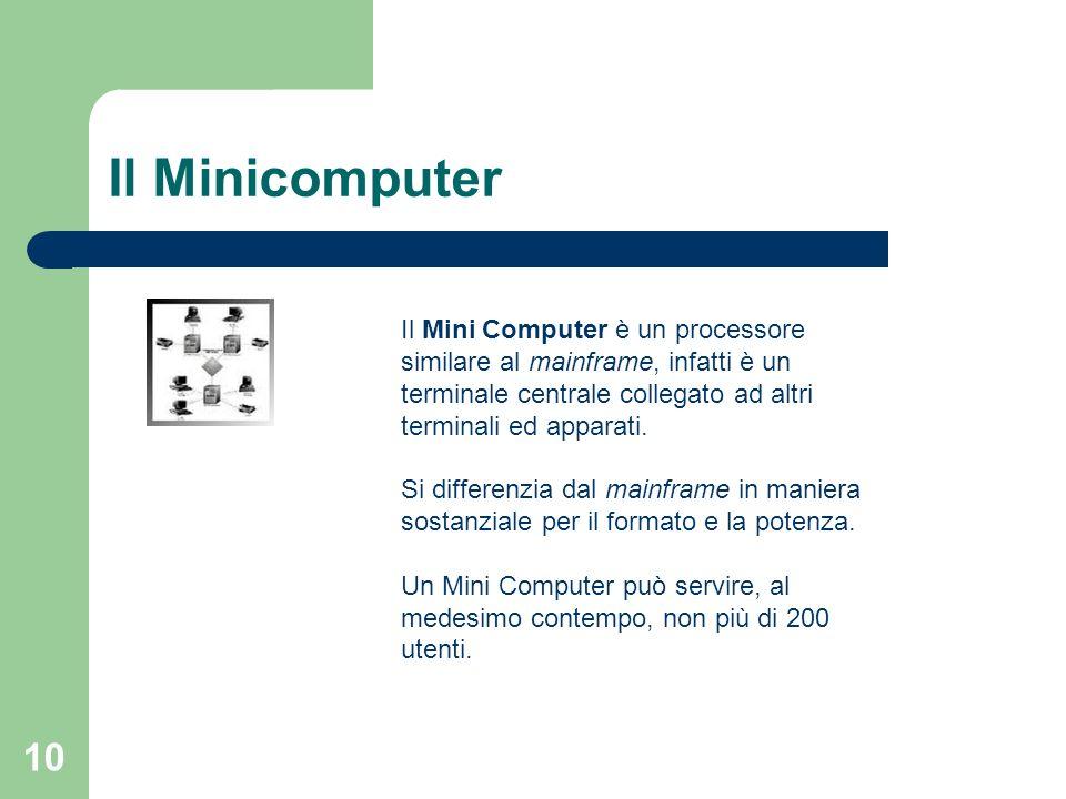 10 Il Minicomputer Il Mini Computer è un processore similare al mainframe, infatti è un terminale centrale collegato ad altri terminali ed apparati.