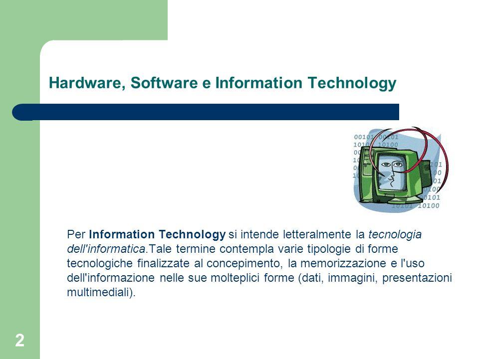 2 Hardware, Software e Information Technology Per Information Technology si intende letteralmente la tecnologia dell informatica.Tale termine contempla varie tipologie di forme tecnologiche finalizzate al concepimento, la memorizzazione e l uso dell informazione nelle sue molteplici forme (dati, immagini, presentazioni multimediali).