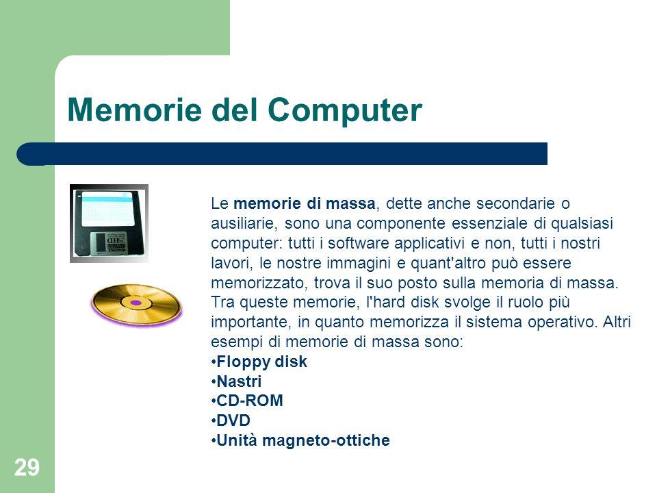 29 Memorie del Computer Le memorie di massa, dette anche secondarie o ausiliarie, sono una componente essenziale di qualsiasi computer: tutti i software applicativi e non, tutti i nostri lavori, le nostre immagini e quant altro può essere memorizzato, trova il suo posto sulla memoria di massa.