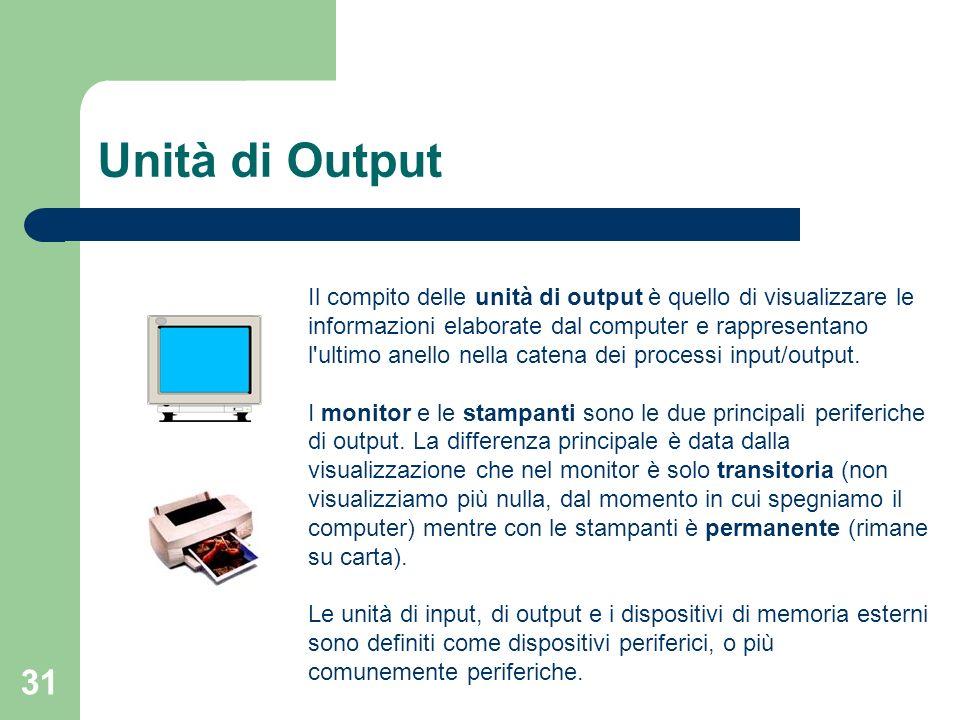 31 Unità di Output Il compito delle unità di output è quello di visualizzare le informazioni elaborate dal computer e rappresentano l ultimo anello nella catena dei processi input/output.