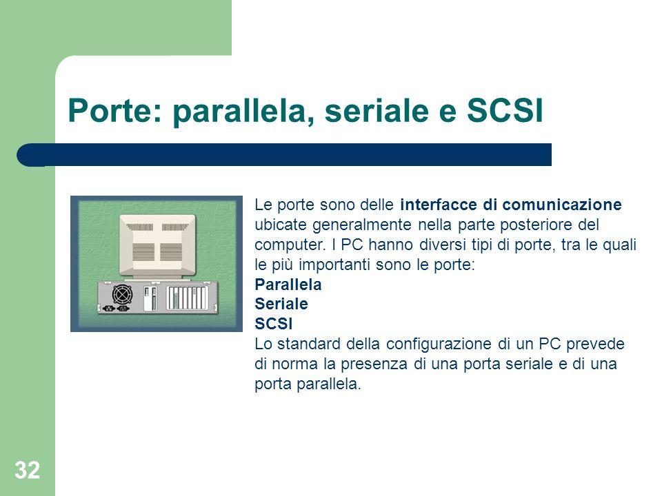 32 Porte: parallela, seriale e SCSI Le porte sono delle interfacce di comunicazione ubicate generalmente nella parte posteriore del computer.