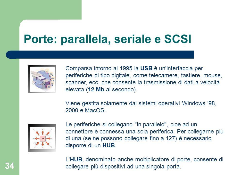 34 Porte: parallela, seriale e SCSI Comparsa intorno al 1995 la USB è un interfaccia per periferiche di tipo digitale, come telecamere, tastiere, mouse, scanner, ecc.