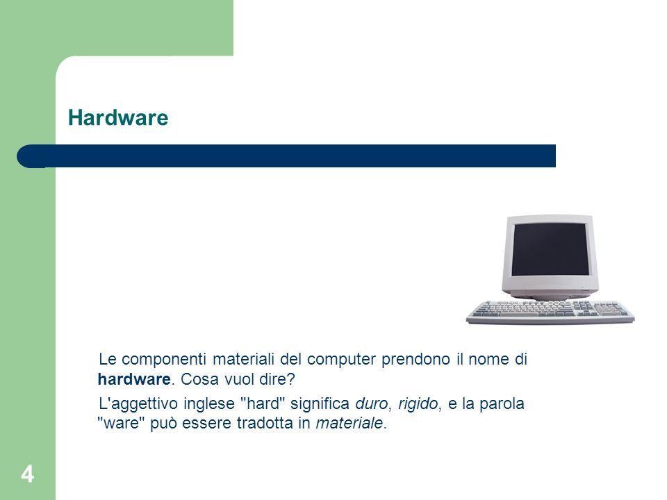 4 Hardware Le componenti materiali del computer prendono il nome di hardware.