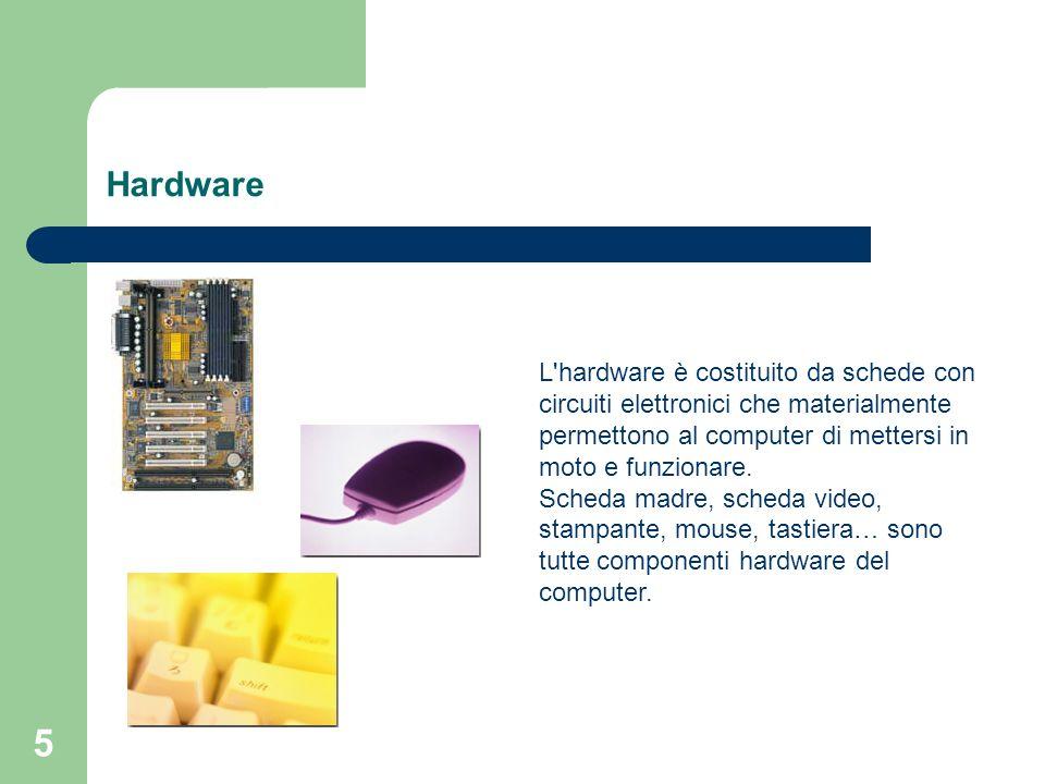 6 Software L altra componente fondamentale di un computer è il software, termine con il quale si intendono i programmi di un elaboratore.