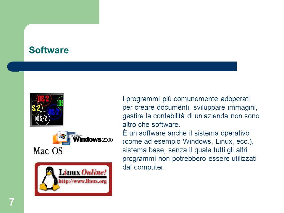 7 Software I programmi più comunemente adoperati per creare documenti, sviluppare immagini, gestire la contabilità di un azienda non sono altro che software.