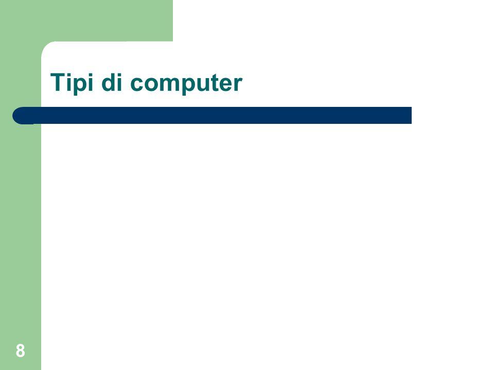 19 Terminale intelligente Per terminale intelligente si intende, invece, un terminale dotato di microprocessore e di memoria, in grado di elaborare informazioni in maniera autonoma anche in assenza di collegamento telematico col computer centrale.
