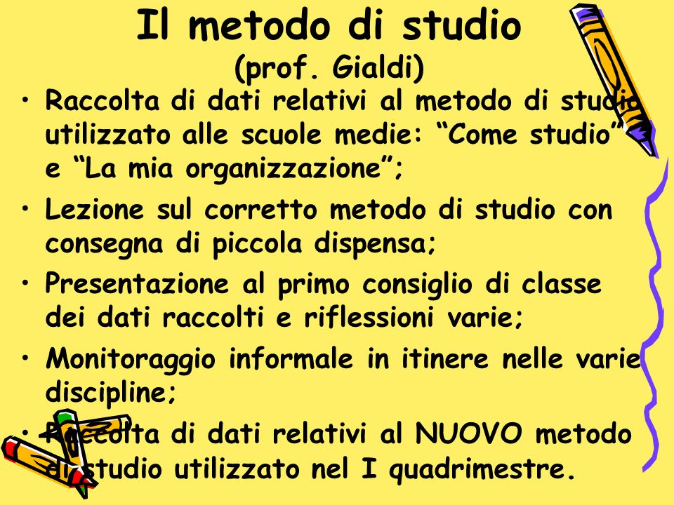 Il metodo di studio (prof. Gialdi) Raccolta di dati relativi al metodo di studio utilizzato alle scuole medie: Come studio e La mia organizzazione; Le