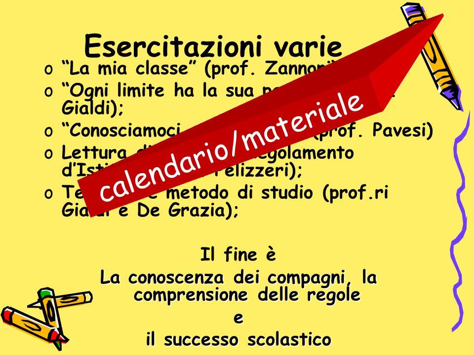 Esercitazioni varie oLa mia classe (prof. Zannoni) oOgni limite ha la sua pazienza(prof. Gialdi); oConosciamoci con lo sport (prof. Pavesi) oLettura d