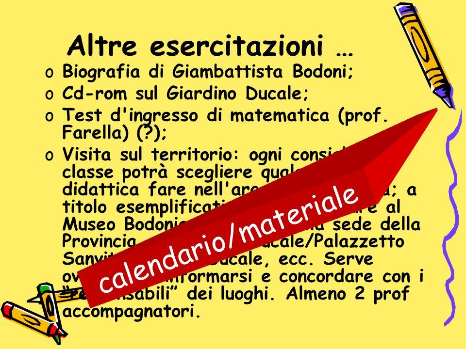 Altre esercitazioni … oBiografia di Giambattista Bodoni; oCd-rom sul Giardino Ducale; oTest d'ingresso di matematica (prof. Farella) (?); oVisita sul