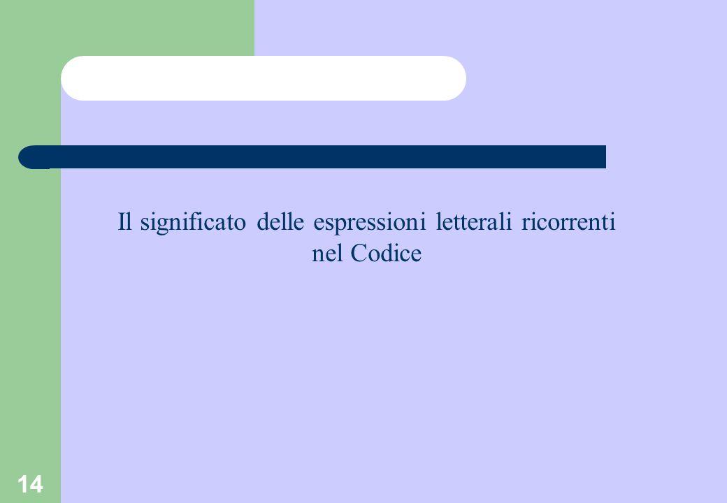 14 Il significato delle espressioni letterali ricorrenti nel Codice