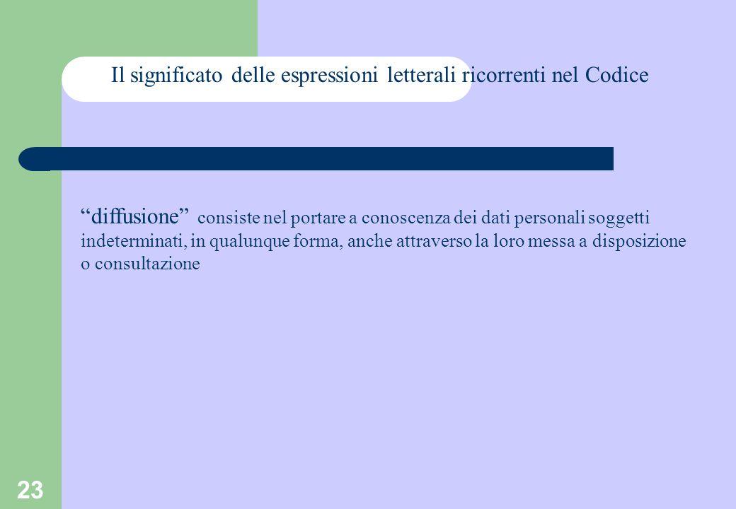 23 Il significato delle espressioni letterali ricorrenti nel Codice diffusione consiste nel portare a conoscenza dei dati personali soggetti indeterminati, in qualunque forma, anche attraverso la loro messa a disposizione o consultazione