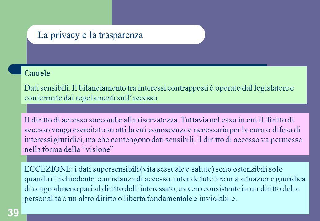 39 La privacy e la trasparenza Cautele Dati sensibili.