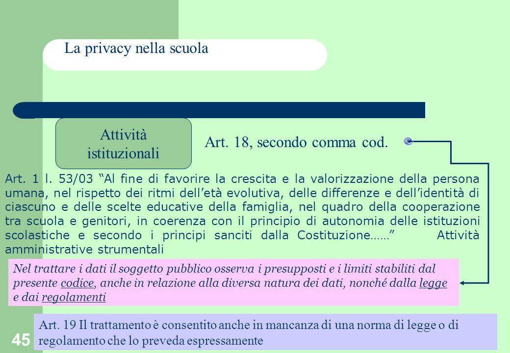 45 La privacy nella scuola Attività istituzionali Art.