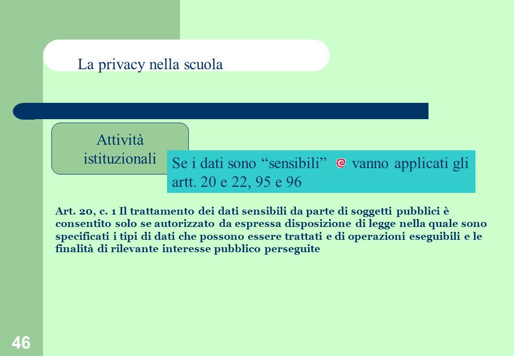 46 Attività istituzionali La privacy nella scuola Se i dati sono sensibili vanno applicati gli artt.