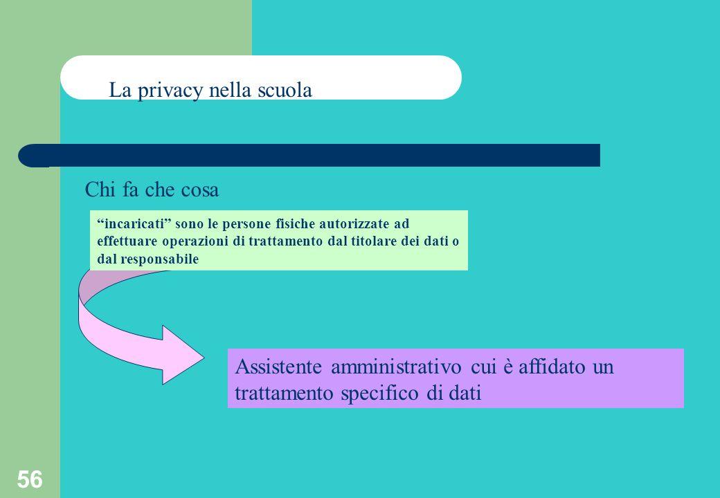 56 La privacy nella scuola Chi fa che cosa incaricati sono le persone fisiche autorizzate ad effettuare operazioni di trattamento dal titolare dei dati o dal responsabile Assistente amministrativo cui è affidato un trattamento specifico di dati