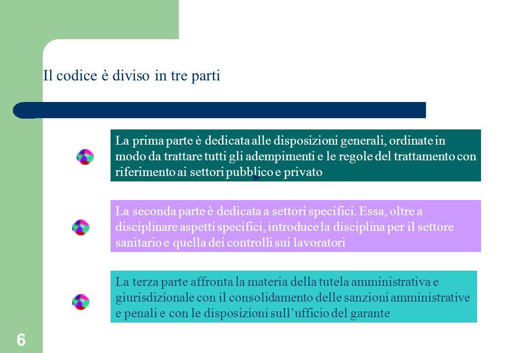 6 Il codice è diviso in tre parti La prima parte è dedicata alle disposizioni generali, ordinate in modo da trattare tutti gli adempimenti e le regole del trattamento con riferimento ai settori pubblico e privato La seconda parte è dedicata a settori specifici.