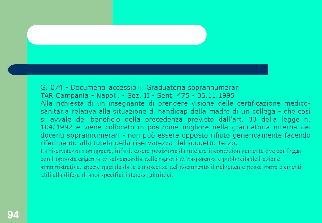 94 G. 074 - Documenti accessibili. Graduatoria soprannumerari TAR Campania - Napoli.