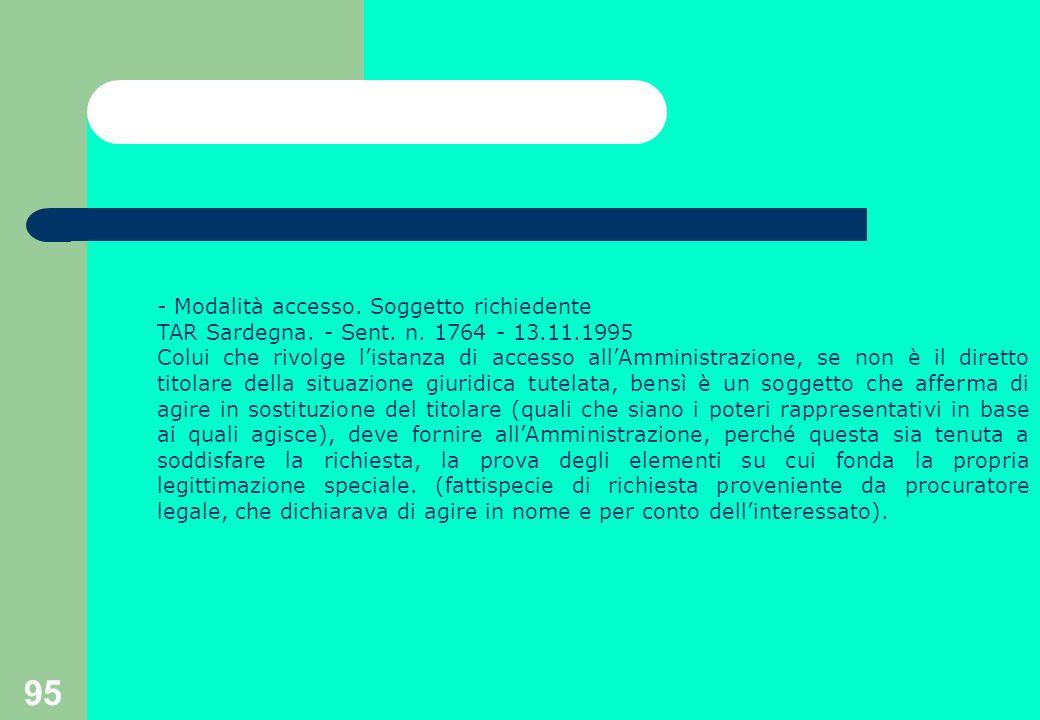 95 - Modalità accesso. Soggetto richiedente TAR Sardegna.