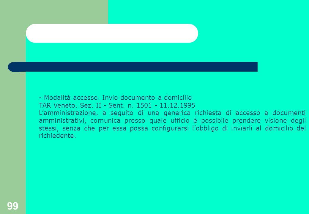 99 - Modalità accesso. Invio documento a domicilio TAR Veneto.