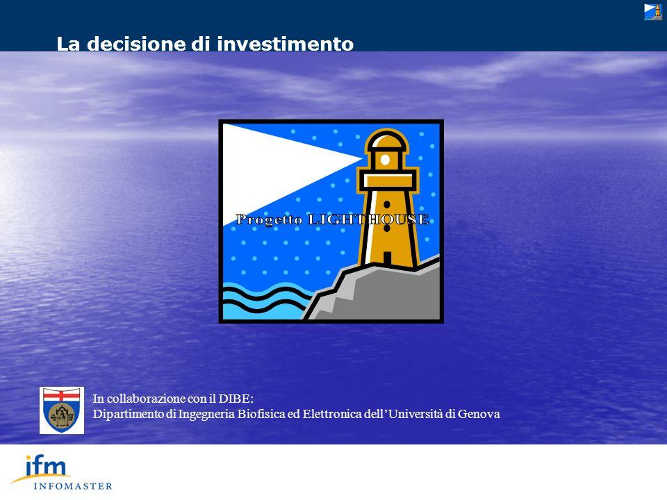 In collaborazione con il DIBE: Dipartimento di Ingegneria Biofisica ed Elettronica dellUniversità di Genova La decisione di investimento