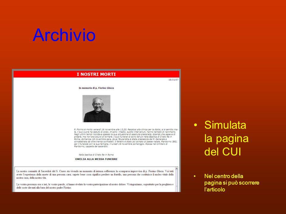 Archivio Simulata la pagina del CUI Nel centro della pagina si può scorrere larticolo