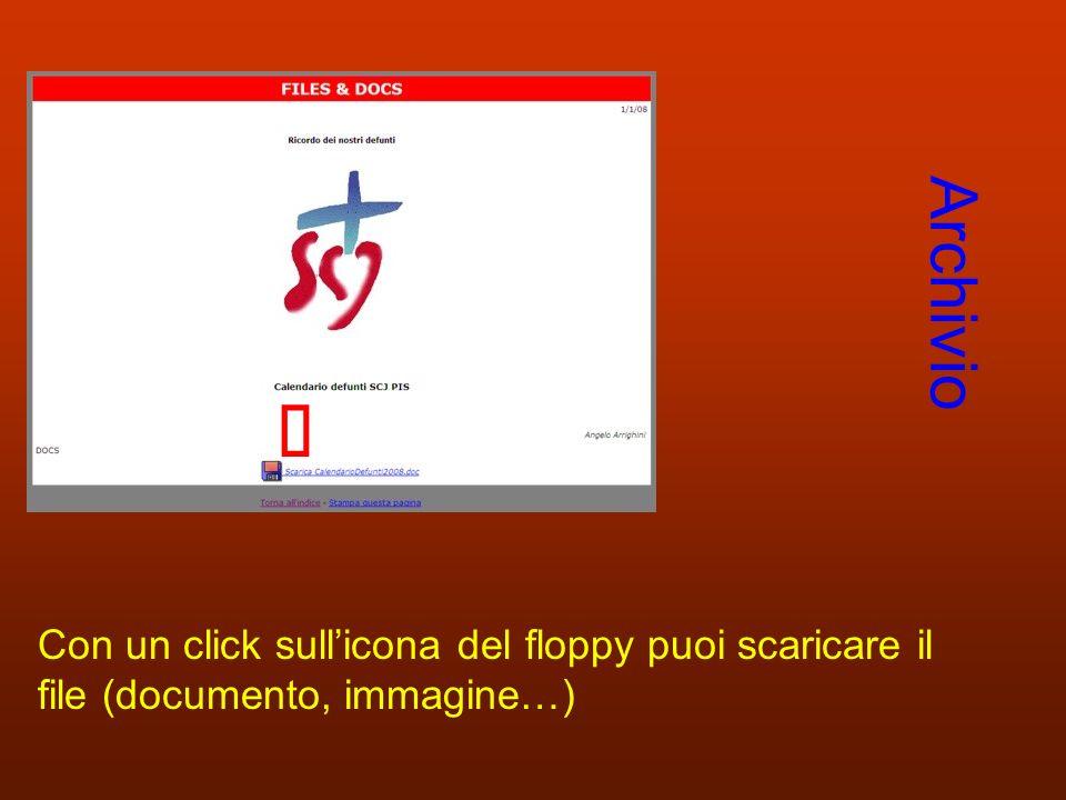 Archivio Con un click sullicona del floppy puoi scaricare il file (documento, immagine…)
