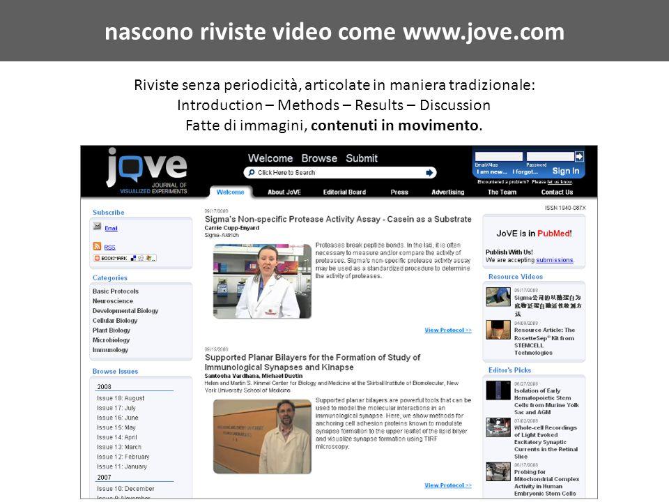 nascono riviste video come www.jove.com Riviste senza periodicità, articolate in maniera tradizionale: Introduction – Methods – Results – Discussion Fatte di immagini, contenuti in movimento.