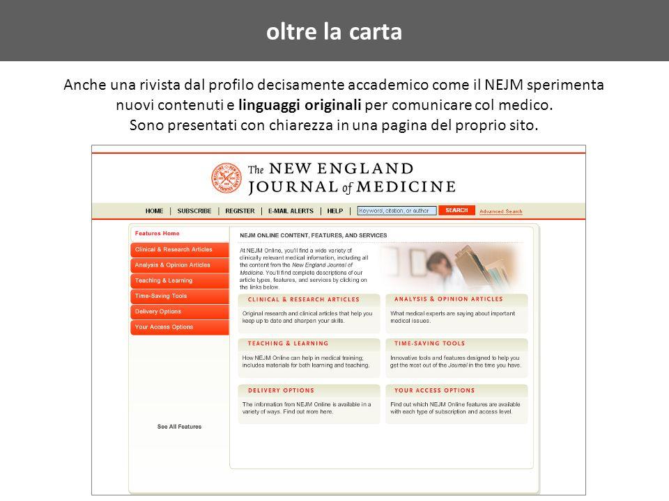 oltre la carta Anche una rivista dal profilo decisamente accademico come il NEJM sperimenta nuovi contenuti e linguaggi originali per comunicare col medico.