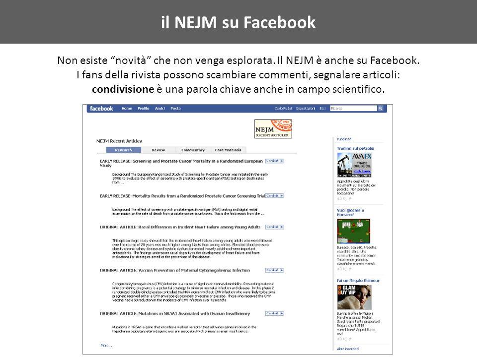 il NEJM su Facebook Non esiste novità che non venga esplorata.