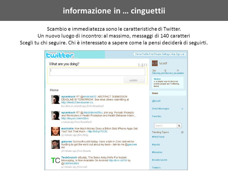 informazione in … cinguettii Scambio e immediatezza sono le caratteristiche di Twitter.