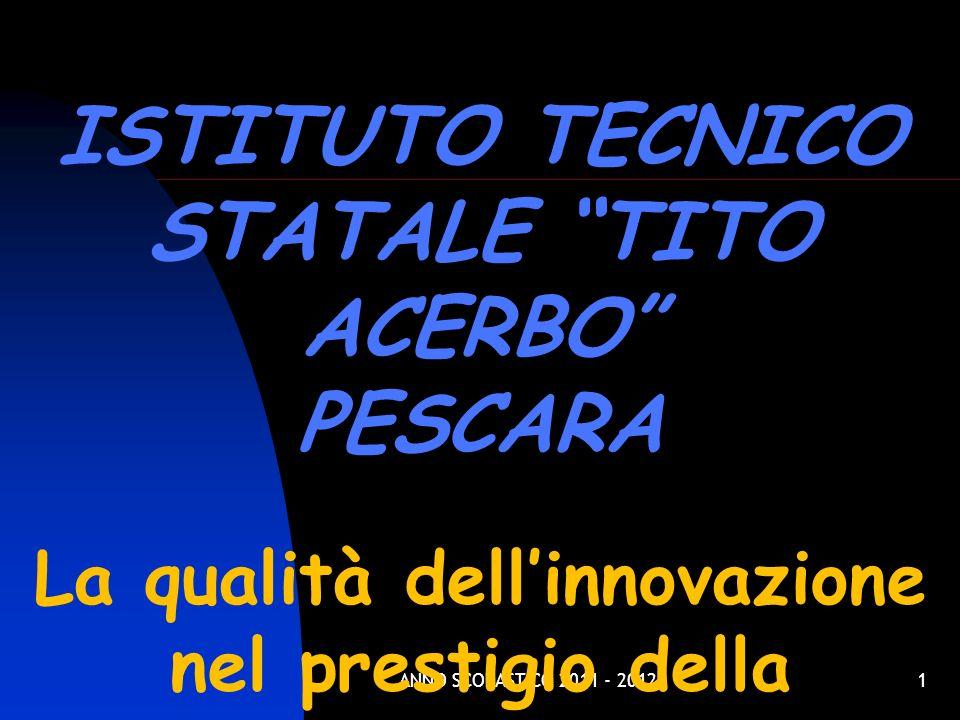ANNO SCOLASTICO 2011 - 20121 ISTITUTO TECNICO STATALE TITO ACERBO PESCARA La qualità dellinnovazione nel prestigio della tradizione