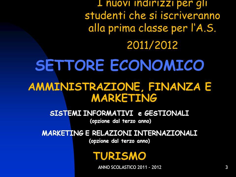 3 I nuovi indirizzi per gli studenti che si iscriveranno alla prima classe per lA.S. 2011/2012 SETTORE ECONOMICO AMMINISTRAZIONE, FINANZA E MARKETING