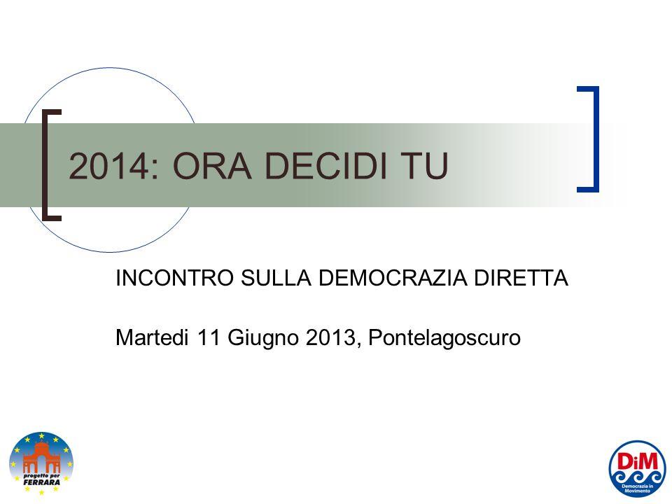 2014: ORA DECIDI TU INCONTRO SULLA DEMOCRAZIA DIRETTA Martedi 11 Giugno 2013, Pontelagoscuro