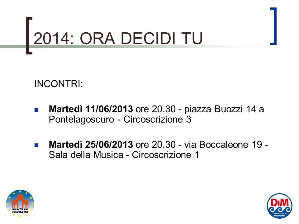2014: ORA DECIDI TU INCONTRI: Martedì 11/06/2013 ore 20.30 - piazza Buozzi 14 a Pontelagoscuro - Circoscrizione 3 Martedì 25/06/2013 ore 20.30 - via Boccaleone 19 - Sala della Musica - Circoscrizione 1