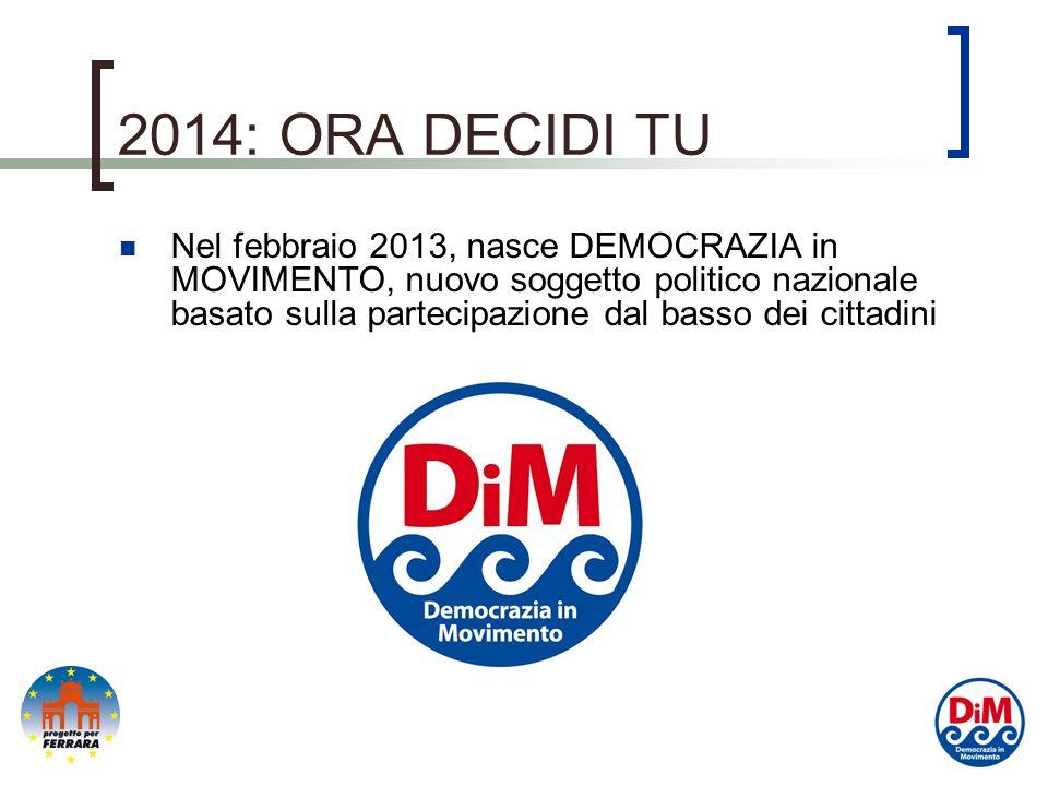 2014: ORA DECIDI TU Nel febbraio 2013, nasce DEMOCRAZIA in MOVIMENTO, nuovo soggetto politico nazionale basato sulla partecipazione dal basso dei cittadini