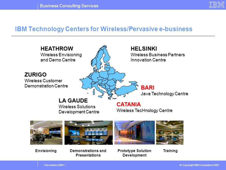 Business Consulting Services © Copyright IBM Corporation 2003 | Novembre 2004 | IBM Technology Centers for Wireless/Pervasive e-business Demonstration