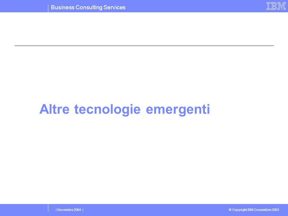 Business Consulting Services © Copyright IBM Corporation 2003 | Novembre 2004 | Altre tecnologie emergenti