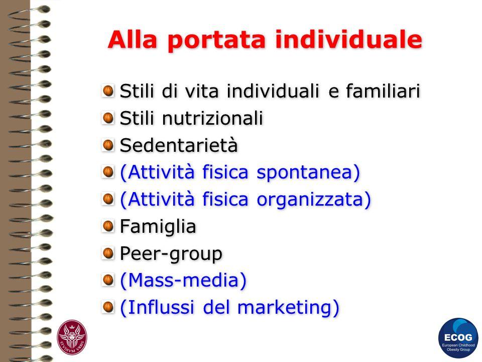 Alla portata individuale Stili di vita individuali e familiari Stili nutrizionali Sedentarietà (Attività fisica spontanea) (Attività fisica organizzat
