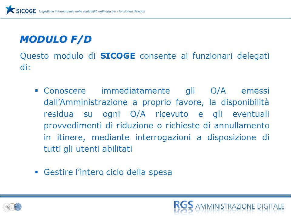 04 Questo modulo di SICOGE consente ai funzionari delegati di: Conoscere immediatamente gli O/A emessi dallAmministrazione a proprio favore, la dispon