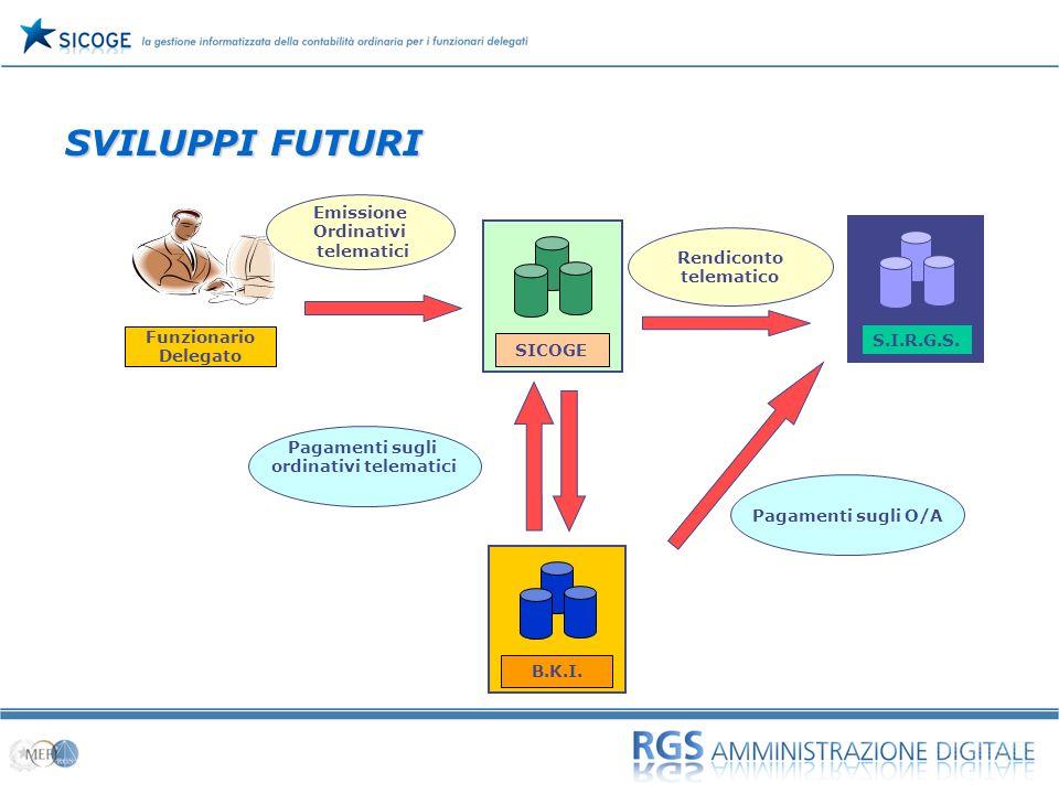 09 SVILUPPI FUTURI Funzionario Delegato SICOGE S.I.R.G.S. B.K.I. Pagamenti sugli ordinativi telematici Rendiconto telematico Emissione Ordinativi tele