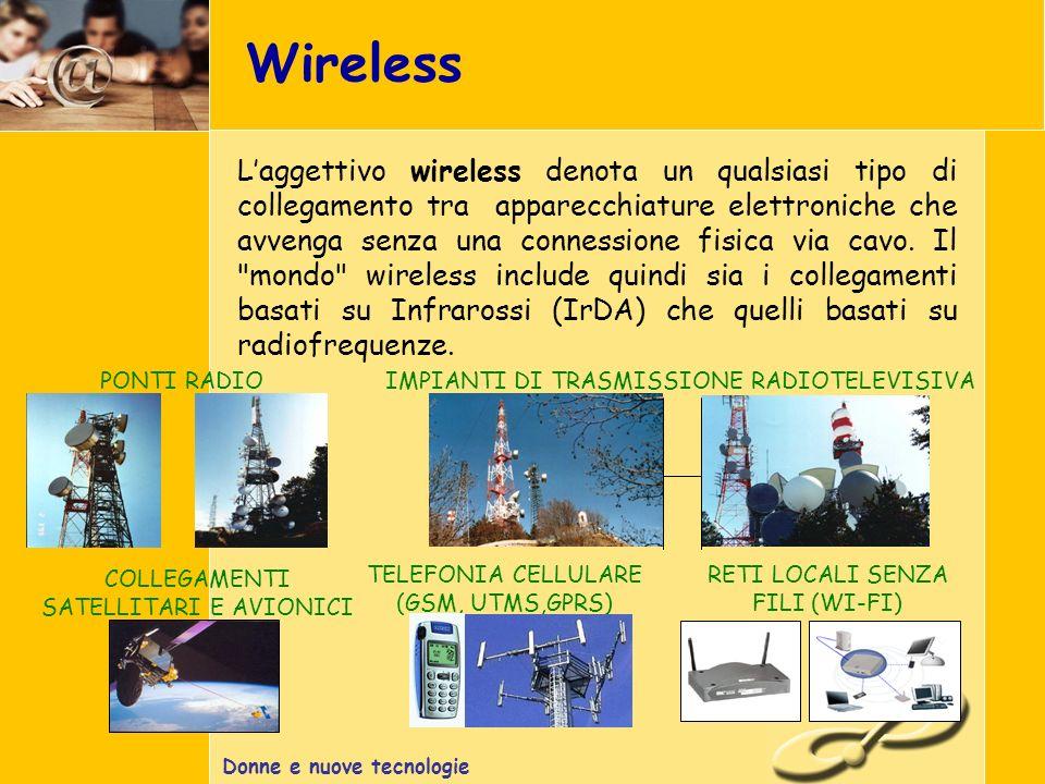 Donne e nuove tecnologie Wireless IMPIANTI DI TRASMISSIONE RADIOTELEVISIVAPONTI RADIO COLLEGAMENTI SATELLITARI E AVIONICI RETI LOCALI SENZA FILI (WI-FI) TELEFONIA CELLULARE (GSM, UTMS,GPRS) Laggettivo wireless denota un qualsiasi tipo di collegamento tra apparecchiature elettroniche che avvenga senza una connessione fisica via cavo.