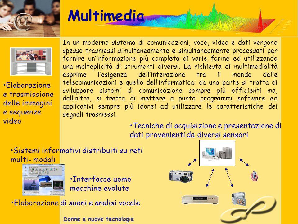 Donne e nuove tecnologie Multimedia In un moderno sistema di comunicazioni, voce, video e dati vengono spesso trasmessi simultaneamente e simultaneamente processati per fornire uninformazione più completa di varie forme ed utilizzando una molteplicità di strumenti diversi.